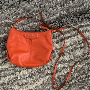 Orange leather coach cross body